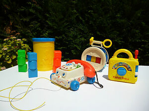 Jouet-Lot-Fisher-Price-Le-Telephone-La-boite-A-Cube-Le-Tambour-Poste-Musical