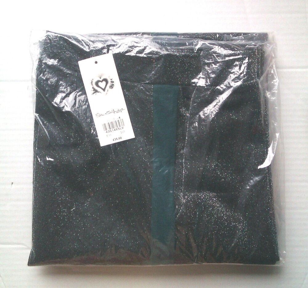 Miss Selfridge Gris Paillettes Jambe Large Pantalon Avec Vert à Rayures-taille 4 (eu/32)