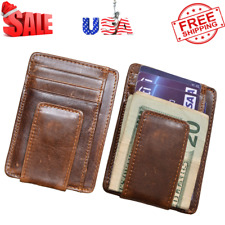 Black Genuine LEATHER MEN/'S MONEY CLIP Bifold CARD Mens Wallet Front Pocket