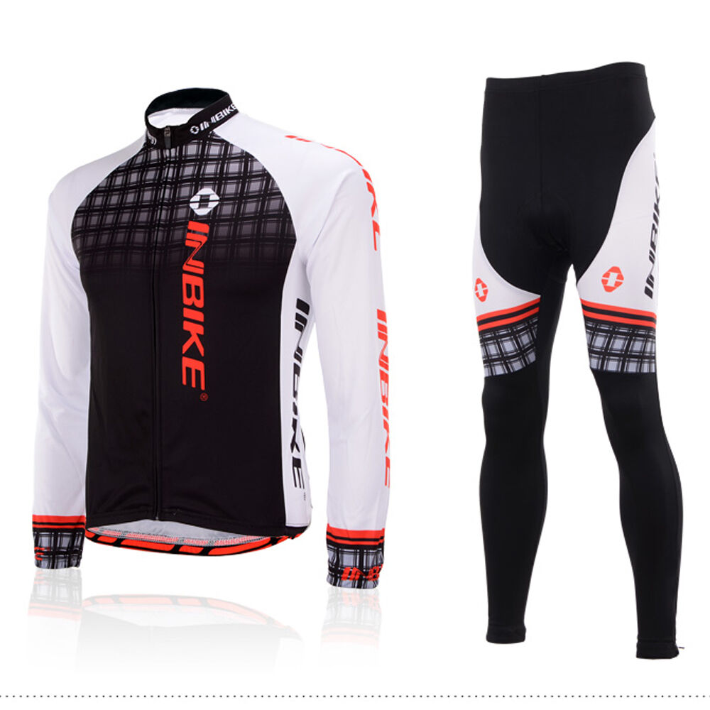 Inbike Men's Cycling Kit Long Sleeve Cycling Jersey and Padded Pants Set S-5XL