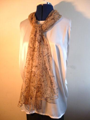 100/% silk floaty chiffon scarf  Black floral print on beige   NEW
