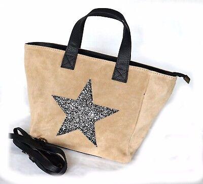 tasche bag schultertasche damentasche handtasche mit stern leder aus italien