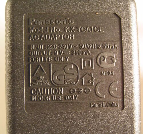 Genuine Panasonic KX-TCA1CE 9VDC Continental Adapter 220//240V 350mA New OL0604