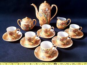Antique-Vintage-Japanese-Oriental-Porcelain-Coffee-Service-15-Piece-Complete-Set