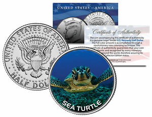 SEA-TURTLE-JFK-Kennedy-Half-Dollar-U-S-Colorized-Coin