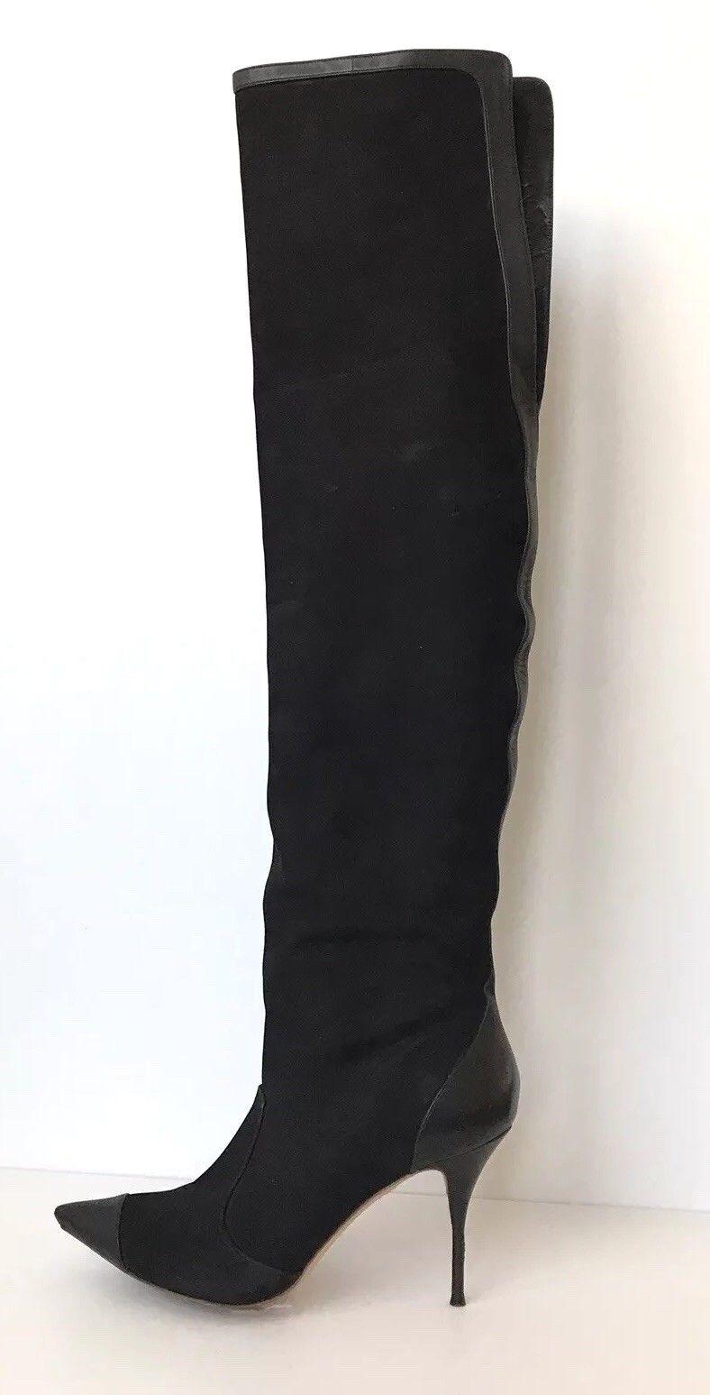 Sophia Webster Hallie Hallie Hallie Nubuck Negro Suede sobre la rodilla botas, tapicería de cuero UK 6  almacén al por mayor