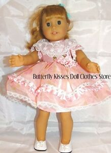 Fancy-Pink-Lace-Flower-Dress-18-in-Doll-Clothes-Fits-American-Girl