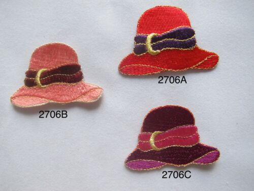 #2706 Red,Pink,Purple Lady Hat//Cap Embroidery Iron On Applique Patch