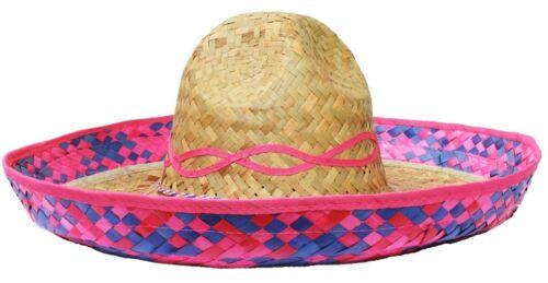 Chapeau Paille Rose Sombrero Mexicain Accessoire vacances poule déguisements stag Bandit