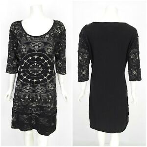 Womens-Desigual-by-Christian-Lacroix-Dress-Black-Short-Sleeve-Bodycon-Size-XL