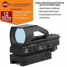 Lightweight red & green dot reflex sight/Weaver rail 4 reticle holographic sight