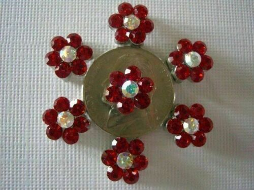 2 Hole Slider Beads Daisy Red /& AB Austrian Crystal #7
