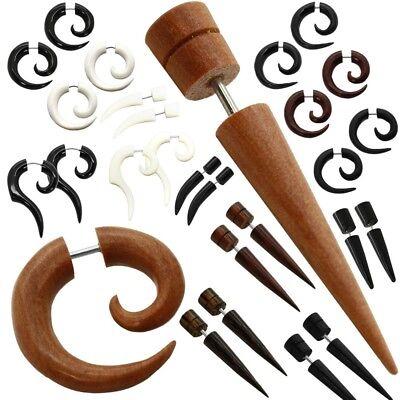 Taper Fakeplugs Fake Plug Earring Piercing Organic Bone Wood Horn Cheater Plug