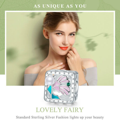 Bamoer S925 Sterling Silver charms With Pink Enamel/&CZ Lovely Fairy Fit Bracelet