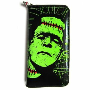 Banned-Apparel-Frankenstein-039-s-Monster-Green-amp-Black-Zipped-Wallet-Purse