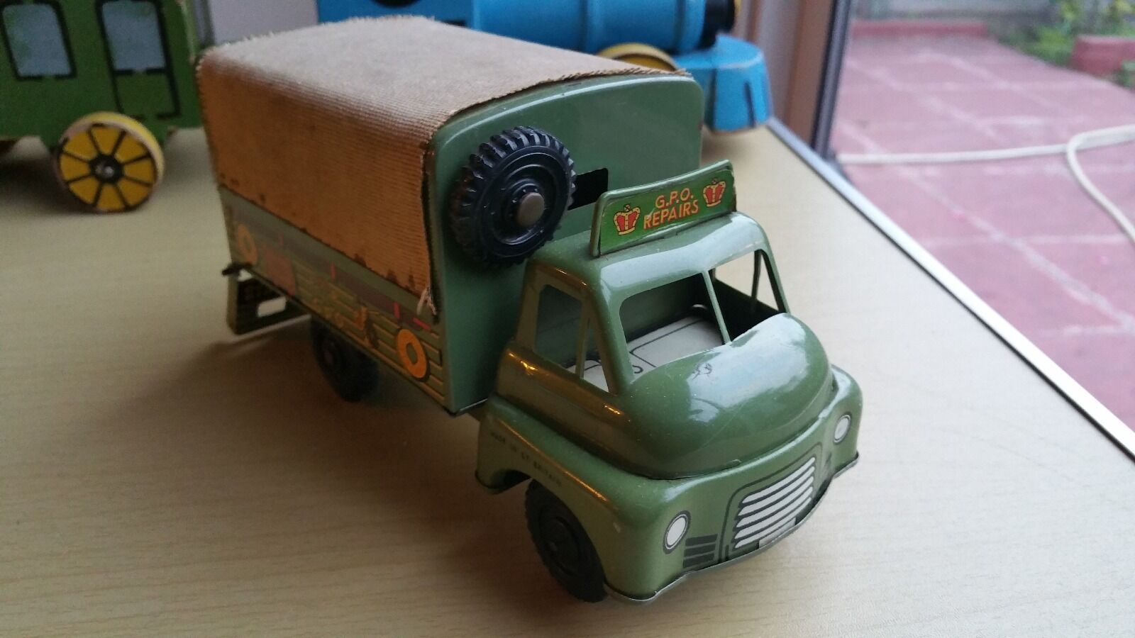 Vintage Tinplate England Wells Brimtoy Bedford G.P.O Repairs Lorry