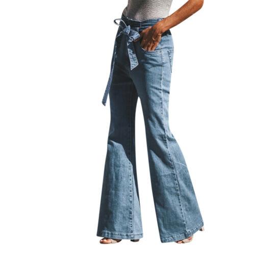 Women Autumn Elastic Plus Loose Denim Bow Casual Boot Cut Pant Jeans