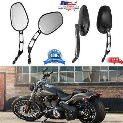 Motorcycle Rear View Mirrors Edge Cut Black For Harley-Davidson Road Glide Dyna