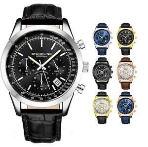 Stuhrling-Men-039-s-3975L-Japanese-Quartz-Chronograph-Date-Watch-Genuine-leather