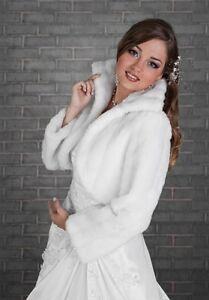 379ff338403e5d Das Bild wird geladen B20-BOLERO-Fell-Brautjacke-Brautbolero-langarm -Hochzeit-Winter-