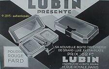 PUBLICITE LUBIN COFFRET POUDRE ROUGE FARD PARFUM DE 1929 FRENCH AD PUB RARE