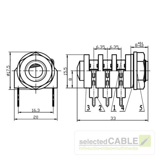 HICON 6,3mm Klinke 3-pol Einbaubuchse horizontal Löttechnik AudioHI-J63S-PH