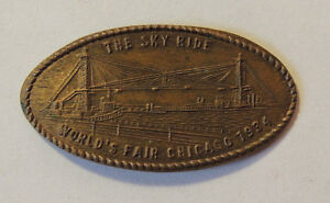1934 The Sky ride World's Fair Chicago Rolled 1909 Penny (12324)