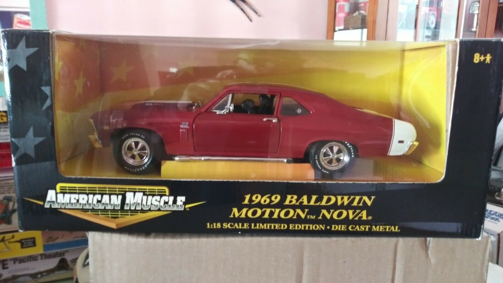 AMERICAN MUSCLE 1 18 SCALE 1969 RED BALDWIN MOTION CAMARO DIECAST CAR