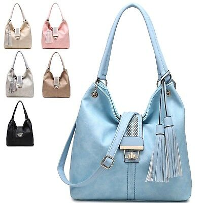 Ladies Faux Leather Shoulder Bag Evening Half Ring Handles Handbag Tote GN60428