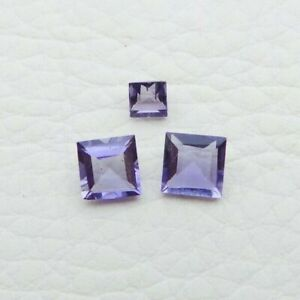 Natural Iolite Loose Gemstone 3 to 5 mm Square Cut Lot - 3 Pieces - S125