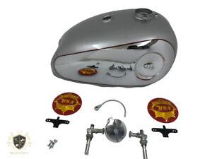BSA-GOLDSTAR-CHROME-amp-SILVER-PAINTED-PETROL-TANK-4-GA-CAP-TAP-amp-BADGES-Fit-For