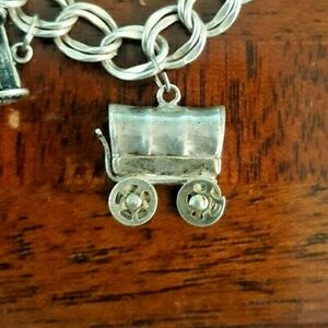 Covered Wagon with Driver Sterling Silver Charm or Pendant.