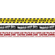 HALLOWEEN Fright Tape Crime Scene Danger Banner Sign 100FT Warning Sealed