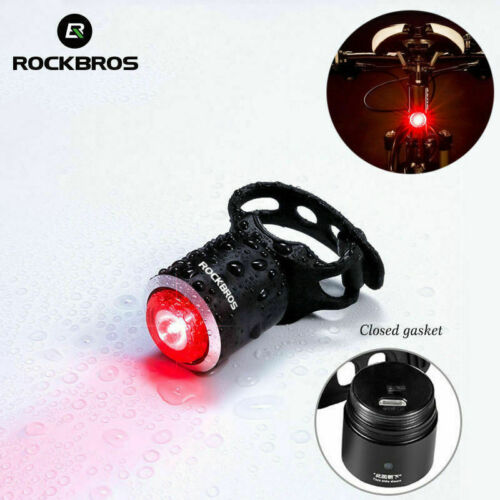 ROCKBROS Bike Tail Light IPX5 Waterproof Warning Smart Lamp USB Rechargeable