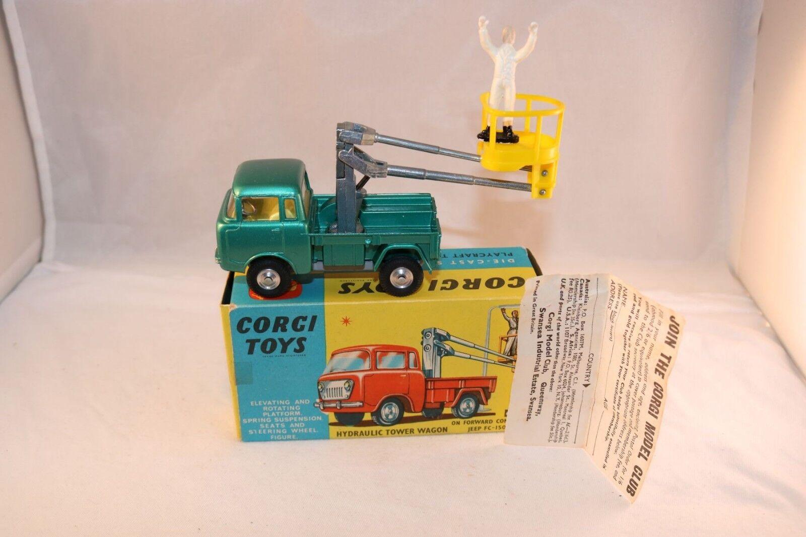 Corgi leksaker 478 Hydrauliskt torn Wagon i 99.9% mint skick i originallåda