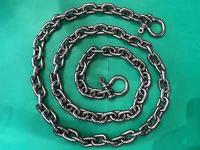"""Stainless Steel Windlass Anchor Chain 316 6mm 1//4/"""" DIN766 by 6/' with shackles"""