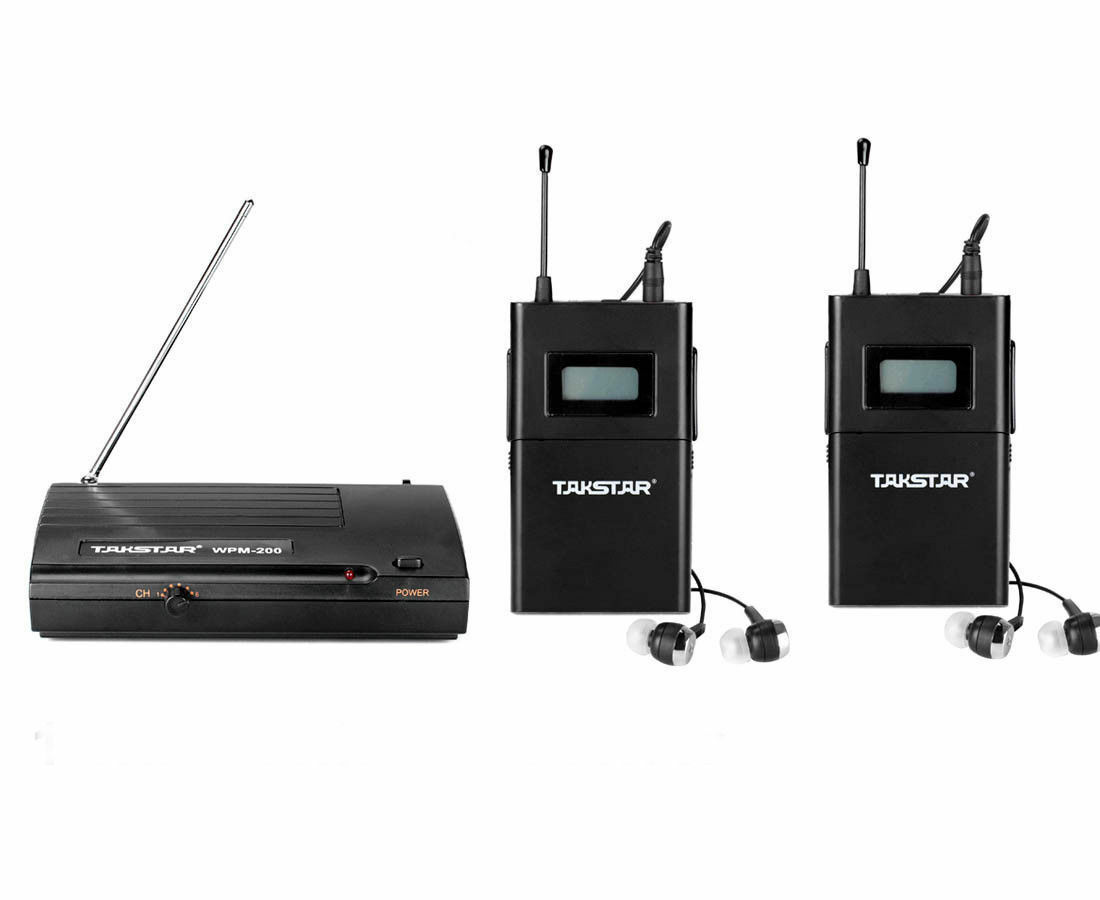 Takstar WPM-200 UHF Wireless Monitor System Stereo 1 Transmitter+2 Receivers
