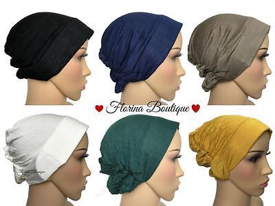 Plain bonnet Stiff front underscarf cap inner hijab jersey material chemo hat