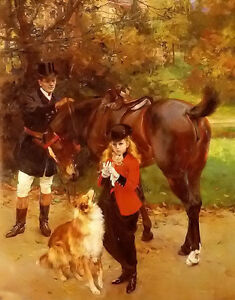 Oil painting hermann jean joseph richir - la petite amazone girl dog horse man