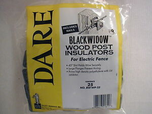 Details About Dare Black Widow Electric Fence Insulators For Wooden Posts 25pk