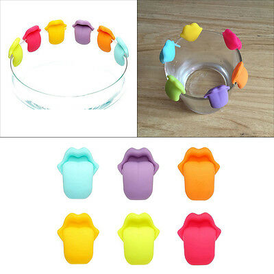 6pcs Cute Colorful Silicon Tongue Suction Cup Wine Glass Recognizer Label Marker
