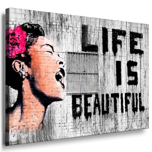 BANKSY STREET ART Bilder GRAFFITI Wandbilder auf Leinwand Bild XXL Motiv-auswahl