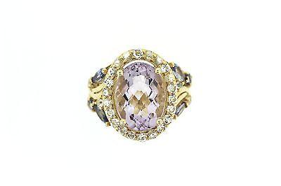 925 Vermeil Pink Amethyst 6.80 Cts White Topaz Ring Tanzanite