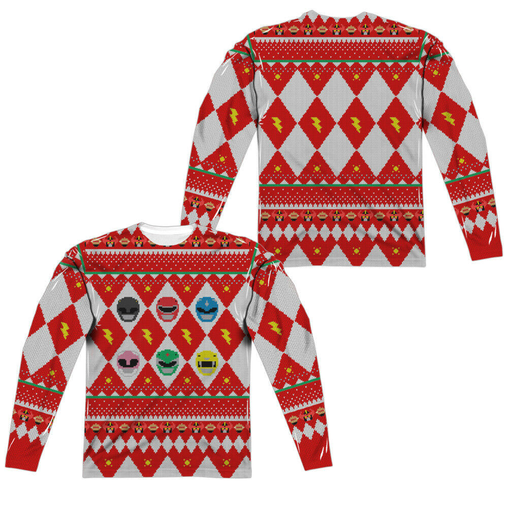 Power Rangers UGLY CHRISTMAS SWEATER PRINT 2-Sided Long Sleeve Poly T-Shirt