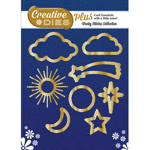 Creative Dies Plus Die Set Stitched Sky Icons in Gold Set of 8Wonky Stitches