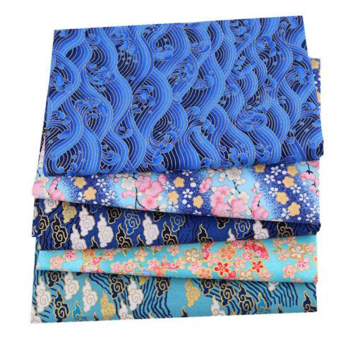5st Japanisches Baumwolle Stoff Bronzing Blumenmuster Patchwork DIY Nähen Bastel