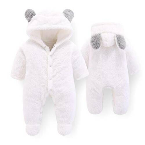Newborn Baby Boy Girl Hooded Romper Jumpsuits Bodysuit Clothes J