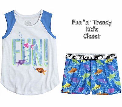 NWT Justice Girls Size 8 or 10 Fish Muscle Tank Top Knit Shorts 2-PC OUTFIT SET