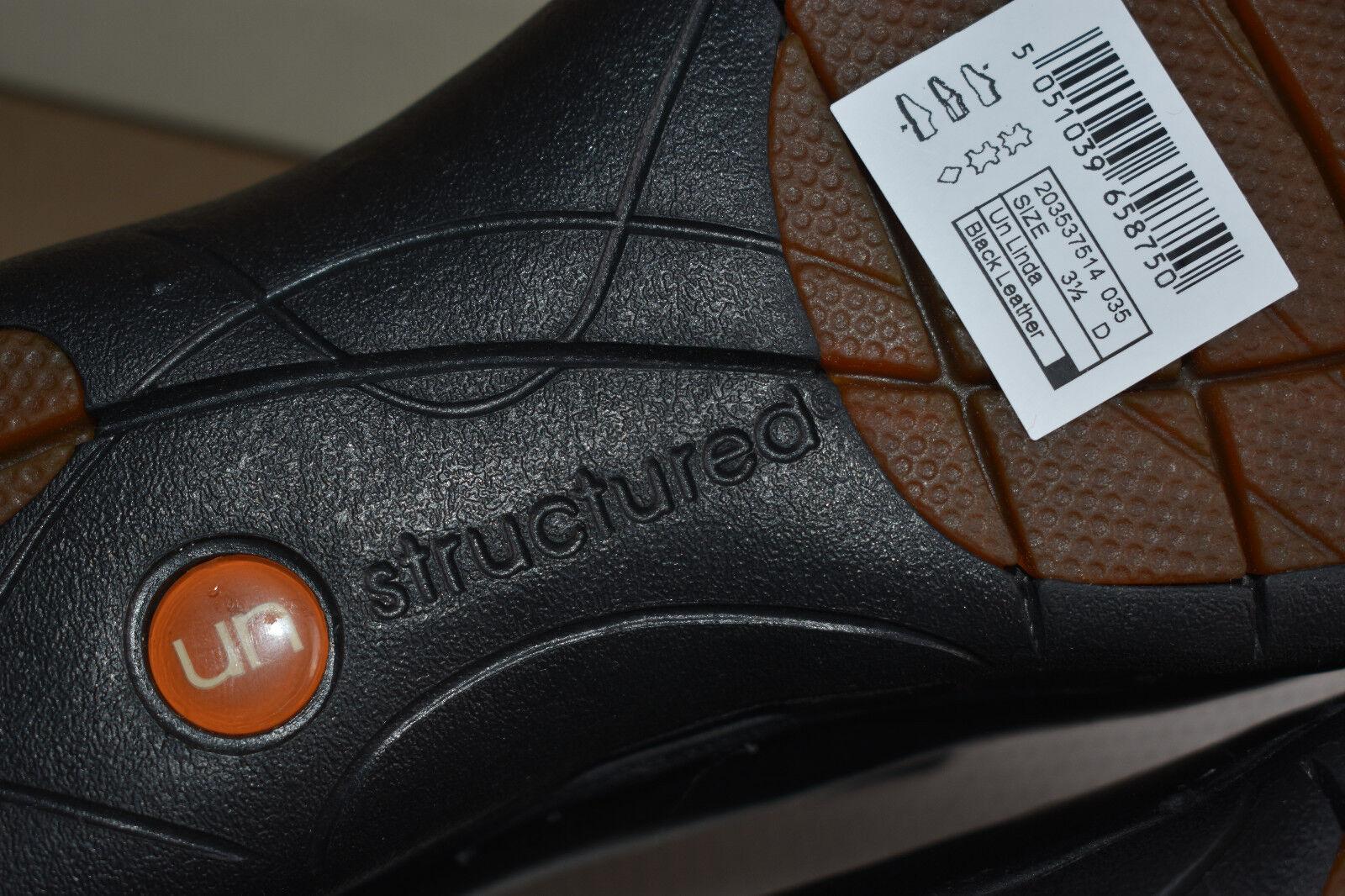 NEW LADIES/ GIRL'S SIZE 3.5 D CLARKS UN LINDA BNWB STRUCTUROT BLACK FLAT Schuhe BNWB LINDA 817c44