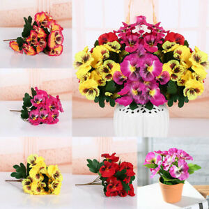5 3 Artificial Flowers Fake Pansy Bunch Home Wedding Party Grave Outdoor Bouquet Ebay